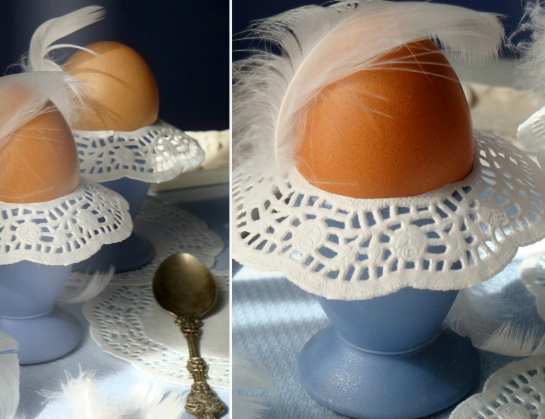 egg decorations doilies vintage style feather egg cup