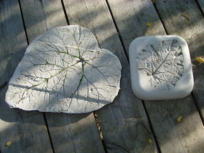 handmade outdoor decor concrete moulds rhubarb leaves