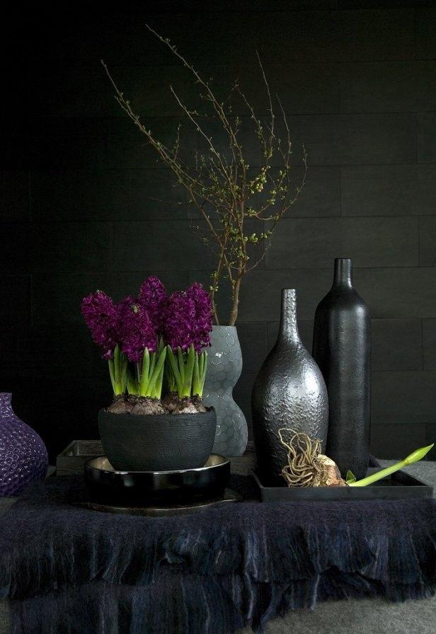 modern home decor spring black silver purple hyacinths