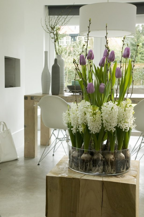 spring  home decor white hyacinth purple tulips arrangement dining room