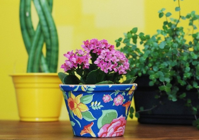 decorating flower pots an easy and colorful diy idea with fabric