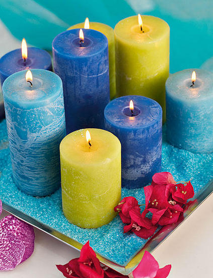 candle centerpiece summer sea inspired colored sand candles hights
