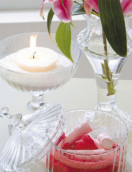 chrystal glass tealight sugar spring candy treats