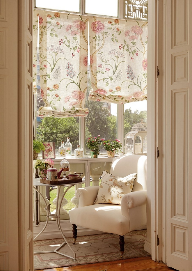 diy-spring-home-decorations-cloth-blinds-floral-pattern