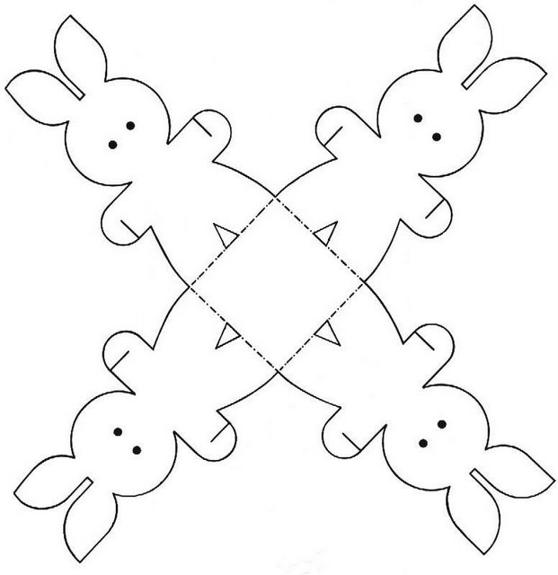 Easter Craft Ideas Paper Bunnies Template For Coloring