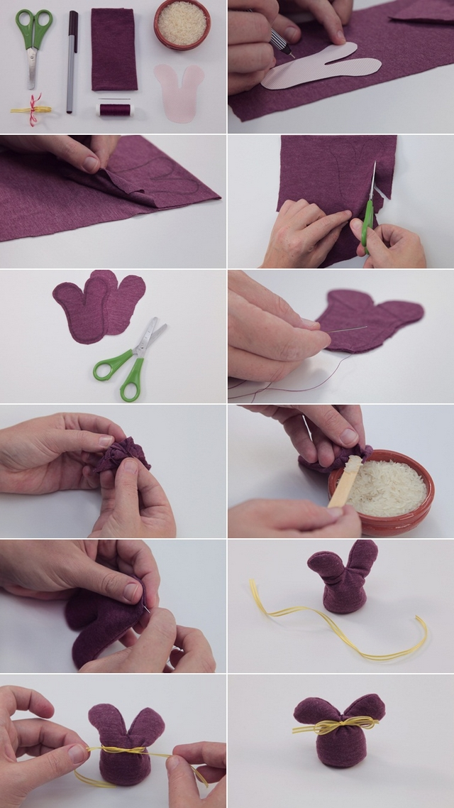 Easter sewing crafts ideas easy bunny sachet rice lavender seeds