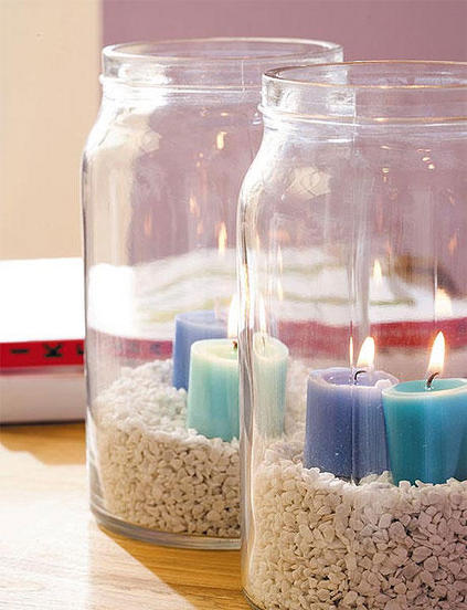 glass jars candle holders white sand blue candles maritime decor