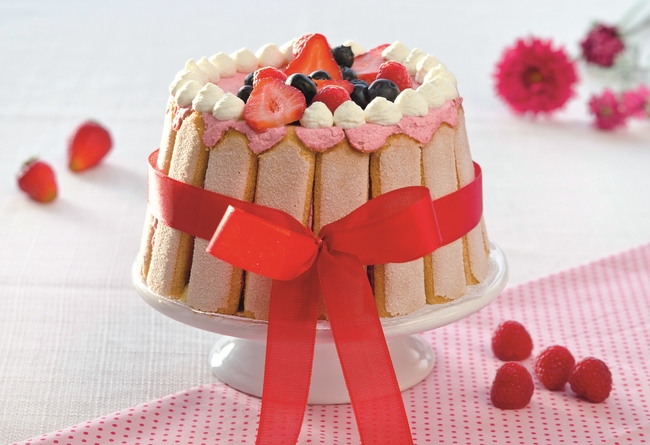 Easy Mother's Day cake recipe quick easy idea charlotte cake strawberries
