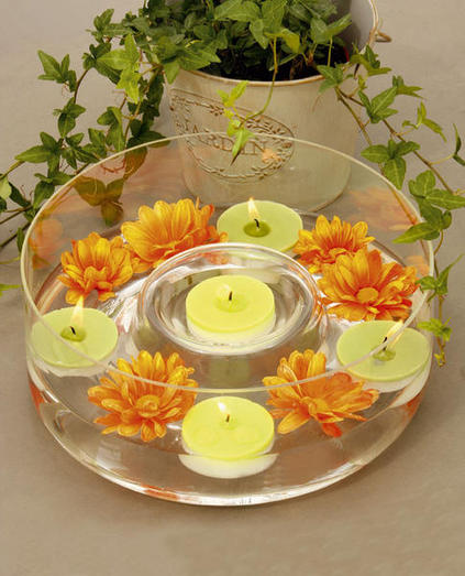 table ideas candle centerpiece floating candles flowers summer feeling