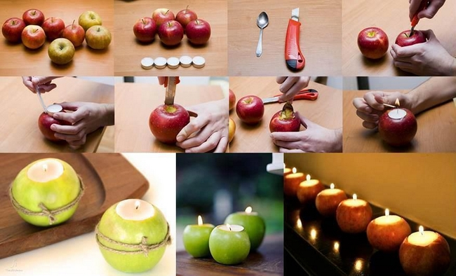 15 table decorating ideas with candles light your home for Apples decoration