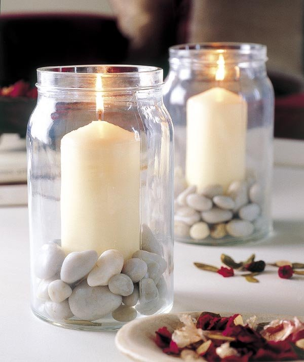 Charmant Table Decorating Ideas Candles Glass Jars Filled Pebbles Decor