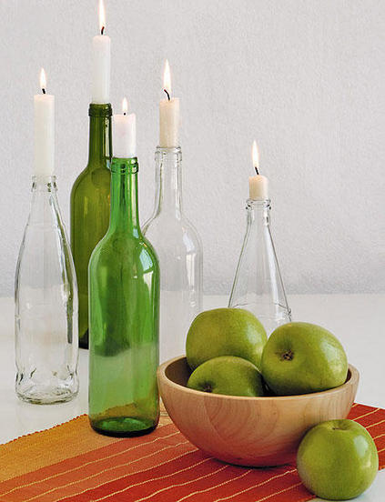 table decorating ideas reuse glass bottles candle sticks bowl apples