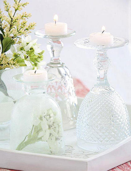 table decorating ideas tealights glasses upside-down spring flowers