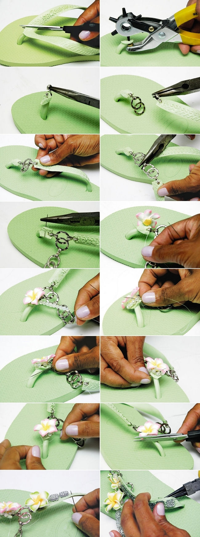 decorating flip flops chains flowers tutorial