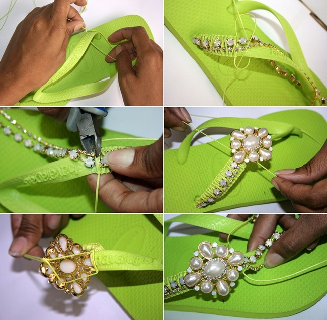 decorating green rubber sandals ideas jewelry pearls