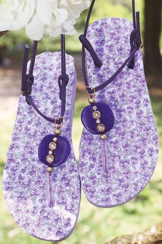 diy flip flop ideas purple floral sole beads