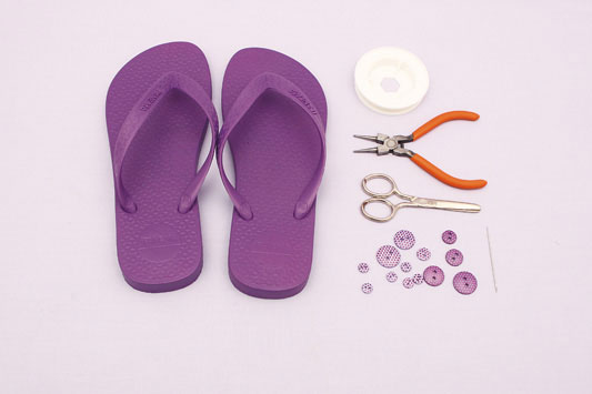 diy flip flop ideas  sandals ideas purple rubber decorating buttons