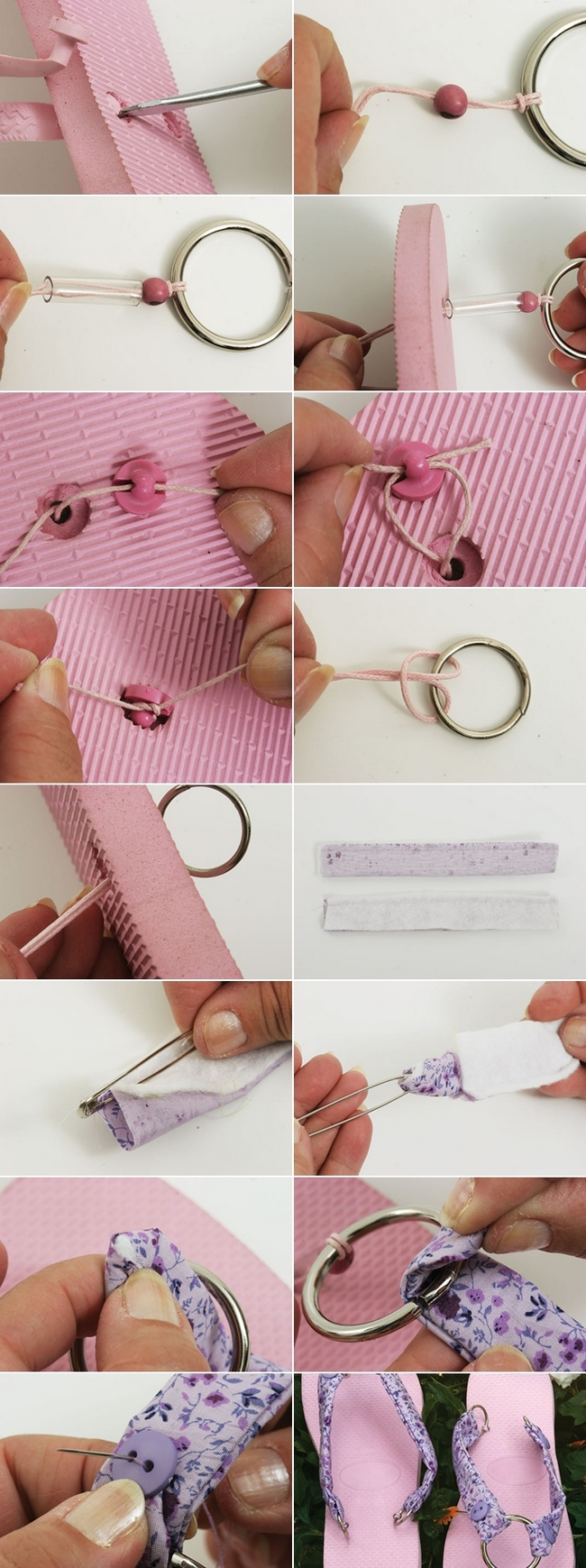 diy flip flops project pink sandals purple fabric metall ring