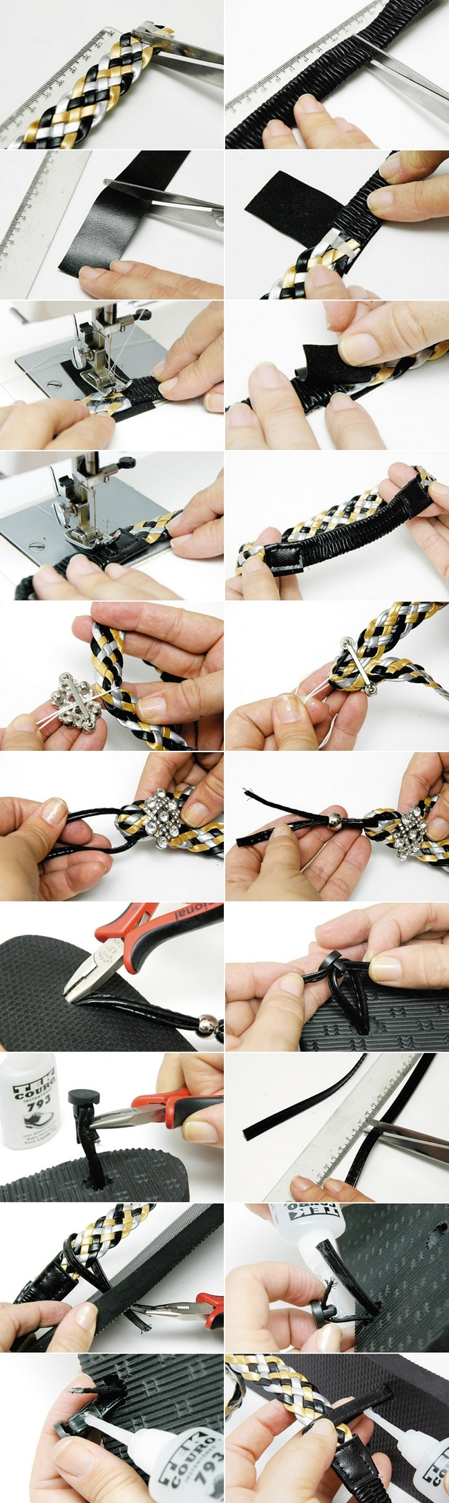 diy flip flops tutorial black silver yellow