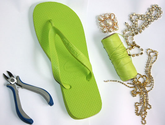 diy rubber green flip flops needed materials