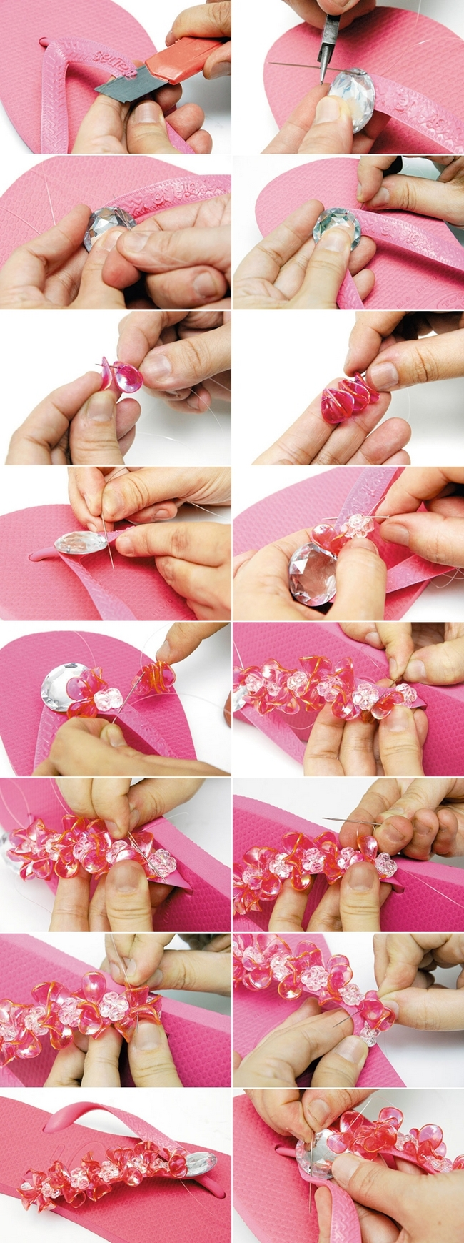 diy summer ideas pink flip flops embellished beads