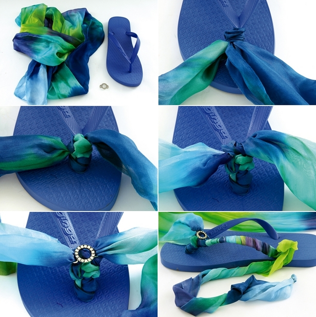 diy summer sandals gradiator roman design blue scarf