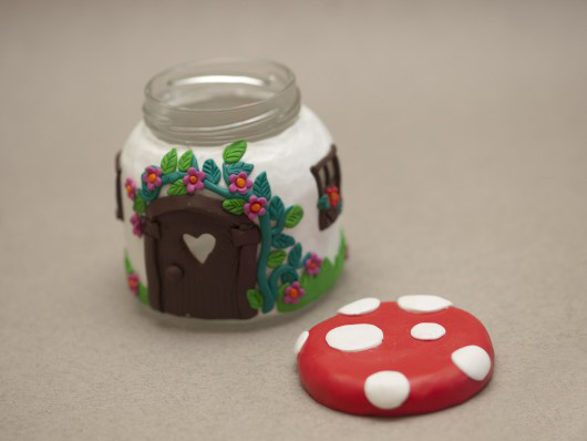 polymer clay candle stand glass jar craft cute idea