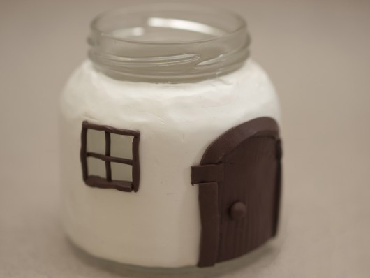 polymer clay glass jar craft  decorative glass house