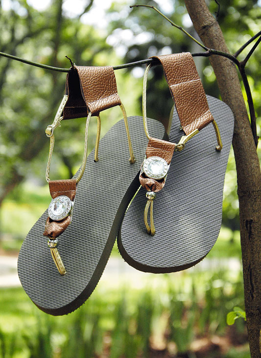homemade summer sandals brown leather golden straps