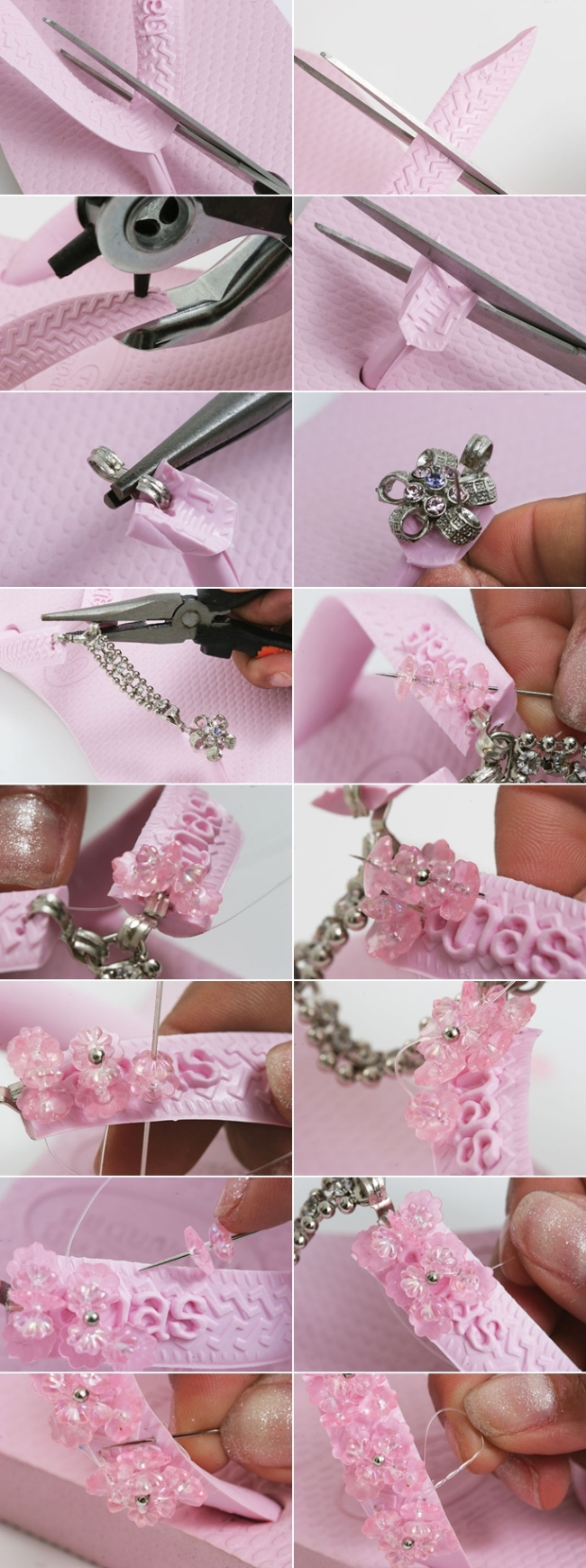 pink flip flops beads sewing embellishments tutorial