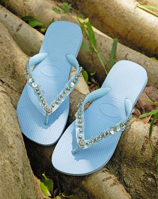 rubber flip flops light blue decorating idea beads