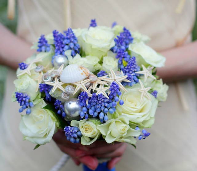 Beach Themed Wedding Bridal Bouquet Roses Grape Hyacinth Seashells