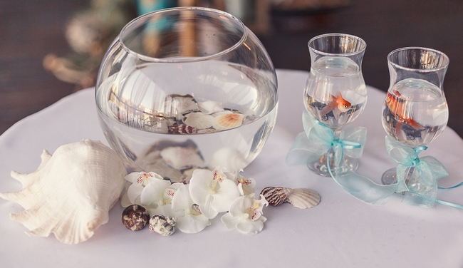 Beach Themed Wedding Decor Ceremony Gl Bowl Goldfishes Gles