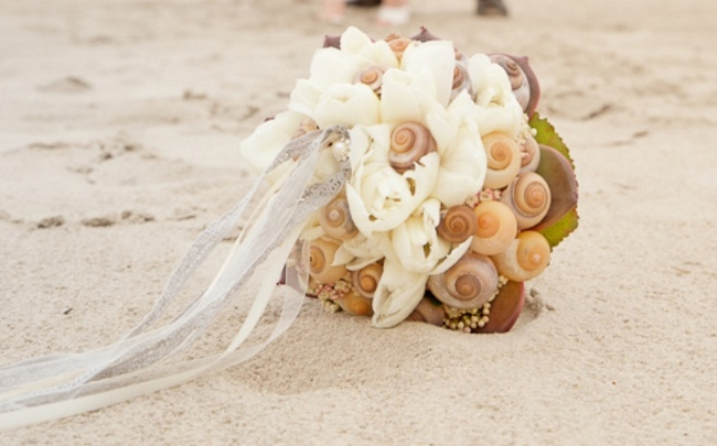 beach wedding bouquet sea snails shells white flowers