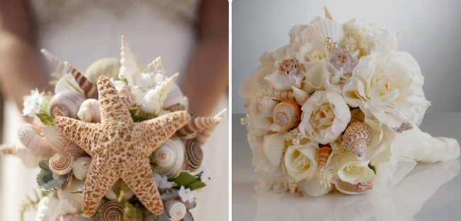 beach wedding bouquet white peony flowers sea snails shells starfish