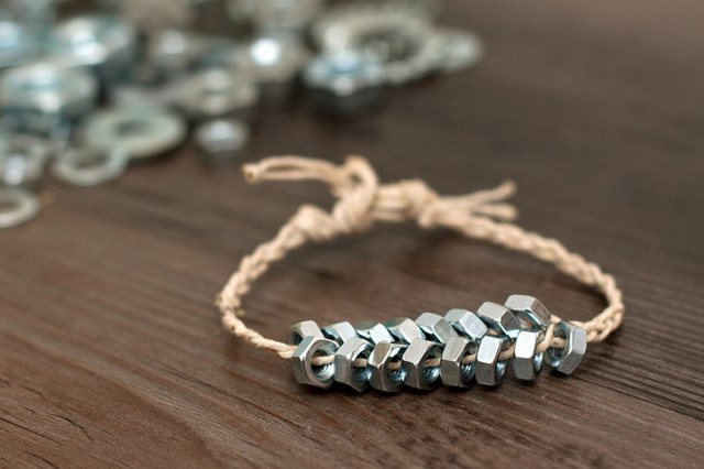 diy herring bone structure jewelry braided hex nut bracelets