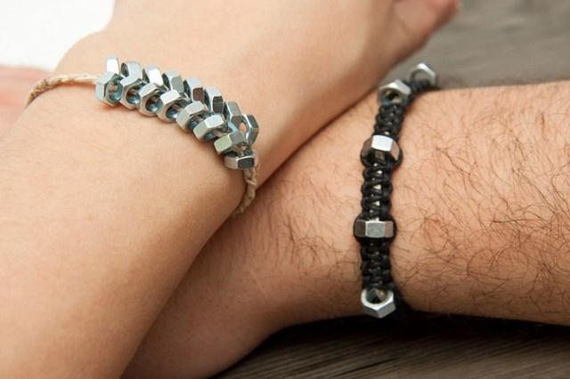 handmade metal jewelry great gift idea braided hex nut bracelets