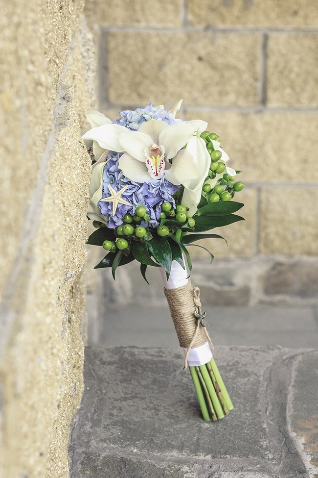 bridal bouquet blue hydrangea white orhid yarn