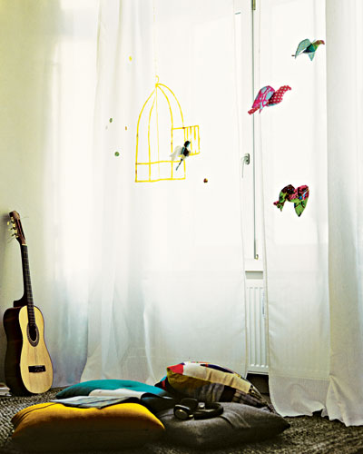 bird curtain marker diy home decor ideas drawing open cage