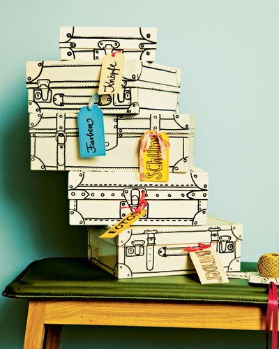 painted shoeboxes diy home decor ideas paper label colored ribbon