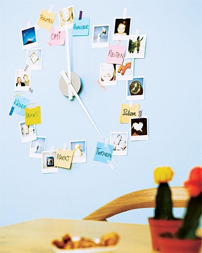 photo wall clock sticky note reminder diy home decor ideas interior design