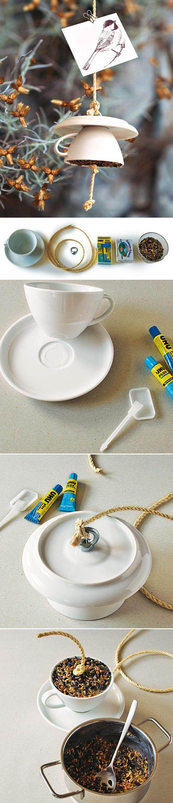 tea cup bird feeder diy home decor ideas step by step