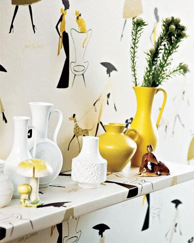 wallpaper shelf and vases diy home decor ideas