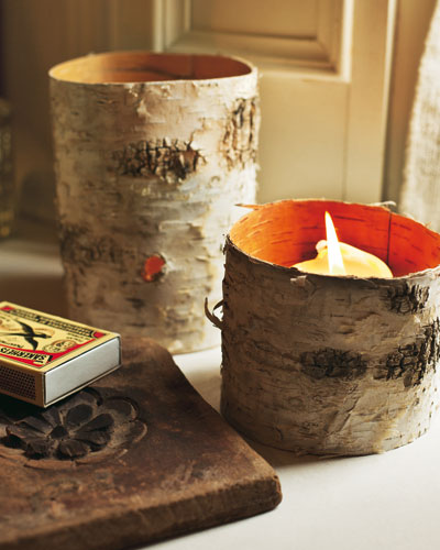 home decor diy ideas birch bark candle holders craft project