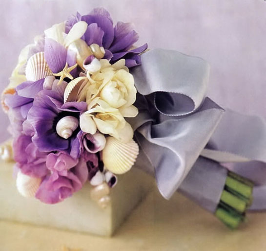 purple wedding bridal bouquet white seashells