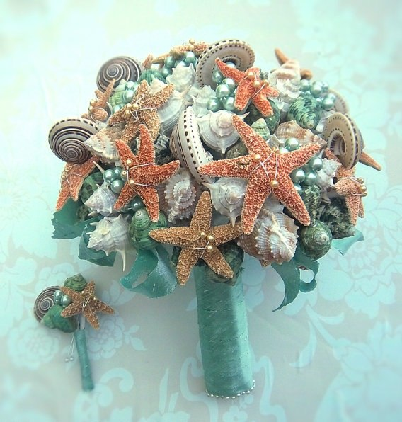 seashell bridal bouquet handmade turqoise pearls