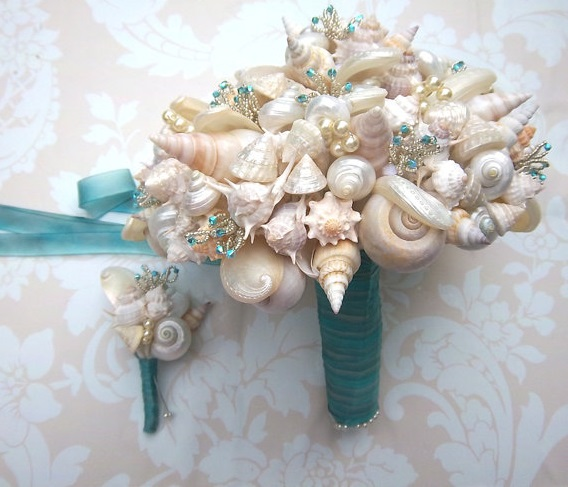 seashells bridal bouquet beads turqoise ribbon