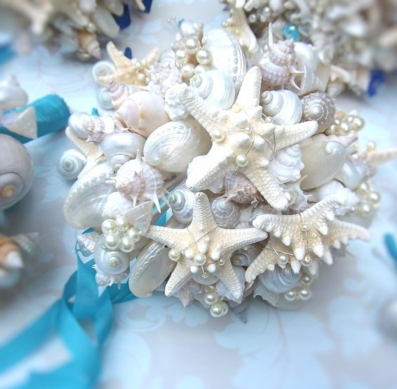 seashell bridal bouquet pearls white turquoise ribbon