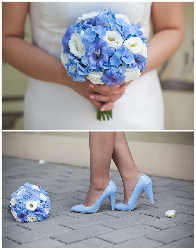 wedding bridal bouquet blue white flowers shoes