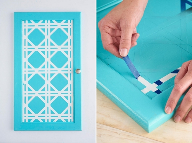Paint Tape Design Ideas geometric tape design painting This Bold Kitchen Cabinet Door Design Can Be Achieved With Just A Little Paint And Adhesive Tape Paint Just The Door Fronts With Brilliant White Paint And